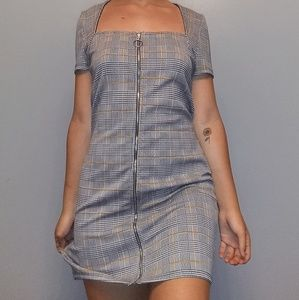 Urban Outfitters Dresses - mini plaid zip up dress